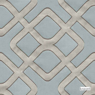 Kravet - Kamari - Spa  | Upholstery Fabric - Blue, Grey, Fibre Blends, Geometric, Midcentury, Lattice, Trellis, Standard Width