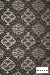 Mokum Timbuktu - Platinum  | Curtain & Upholstery fabric - Brown, Craftsman, Deco, Decorative, Geometric, Ikat, Mediterranean, Natural Fibre, Ogee, Domestic Use, Dry Clean