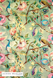 James Dunlop Indent - Blenheim - Celadon  | Curtain & Upholstery fabric - Green, Deco, Decorative, Floral, Garden, Natural fibre, Traditional, Many-Coloured, Pink - Purple