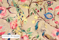 James Dunlop Indent - Blenheim - Jewel  | Curtain & Upholstery fabric - Blue, Green, Red, Deco, Decorative, Floral, Garden, Natural fibre, Traditional, Animals, Animals - Fauna, Domestic Use