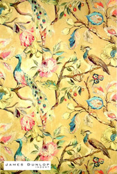 James Dunlop Indent - Blenheim - Ochre  | Curtain & Upholstery fabric - Gold,  Yellow, Deco, Decorative, Floral, Garden, Multi-Coloured, Natural Fibre, Traditional, Animals