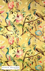 James Dunlop Indent - Hampton Court - Ochre  | Curtain & Upholstery fabric - Gold,  Yellow, Green, Deco, Decorative, Floral, Garden, Multi-Coloured, Natural fibre, Pink, Purple, Traditional