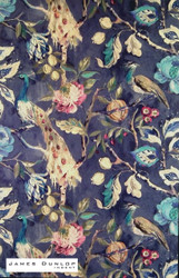 James Dunlop Indent - Hampton Court - Sapphire  | Curtain & Upholstery fabric - Blue, Green, Deco, Decorative, Floral, Garden, Natural fibre, Traditional, Velvet, Animals, Animals - Fauna