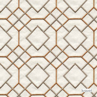 Kravet - Stinard - Terracotta  | Curtain & Upholstery fabric - Brown, White, Geometric, Midcentury, Natural fibre, Embroidery, Lattice, Trellis, Natural, White