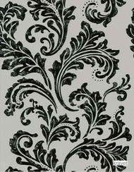 Kravet - W3013_816    Wallpaper, Wallcovering - Black - Charcoal, Damask, Traditional, Rococo