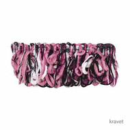 Kra_T30398_78 '' | Fringe, Curtain & Upholstery Trim - Black, White, Synthetic fibre, Black - Charcoal, Pink - Purple, White