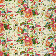 Bay' | Curtain & Upholstery fabric - Floral, Garden, Natural fibre, Tropical, Many-Coloured, Pink - Purple, Natural, Print
