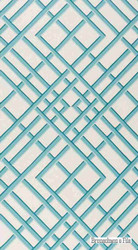 Aqua' | - Blue, Mediterranean, Print, Lattice - Trellis