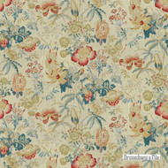 Brunschwig And Fils - Edenwood Hb - Red-Blue  | Curtain & Upholstery fabric - Blue, Red, Farmhouse, Floral, Garden, Multi-Coloured, Natural fibre, Natural, Print