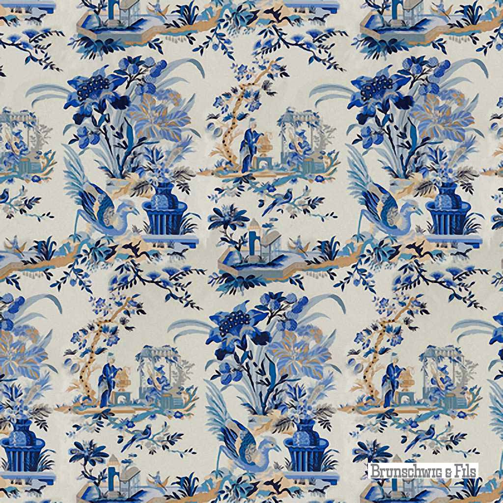 fabric brunschwig and fils le lac blue white. Black Bedroom Furniture Sets. Home Design Ideas