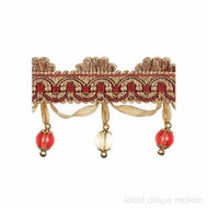IDM - New York Beaded Fringe  4356_9969  Harlem  | Fringe, Curtain & Upholstery Trim - Beige, Brown, Red, Traditional, Domestic Use, Dry Clean