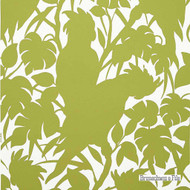 Brunschwig And Fils - Boca Chica(Positive) On Paper - Chartreuse On White  | Wallpaper, Wallcovering - Green, White, Contemporary, Eclectic, Floral, Garden, Midcentury, Print