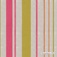 Brunschwig And Fils - Geneva Stripe - Chartreuse-Pink  | Curtain Sheer Fabric - Green, Stripe, Synthetic fibre, Traditional, Pink - Purple