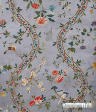 Brunschwig And Fils - Silk Road On Teapaper - Silver  | Wallpaper, Wallcovering - Asian, Floral, Garden, Jacobean, Ogee, Pink, Purple, Traditional, Animals, Animals - Fauna