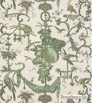Brunschwig And Fils - Kininvie - Leaf On White  | Wallpaper, Wallcovering - Green, Floral, Garden, Print