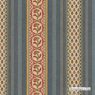 Brunschwig And Fils - Rayure Fleurette - Wedgwood  | Upholstery Fabric - Blue, Eclectic, Floral, Garden, Natural Fibre, Stripe, Traditional, Jacquards, Natural, Standard Width