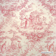 Brunschwig And Fils - Sonnet 14 Toile - Pink  | Curtain & Upholstery fabric - Red, Natural Fibre, Pink, Purple, Toile, Traditional, Natural, Print, Standard Width