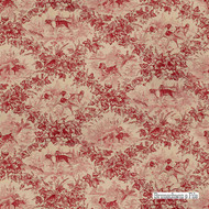 Brunschwig And Fils - On Point Cotton Print - Red  | Curtain & Upholstery fabric - Red, Floral, Garden, Natural Fibre, Toile, Animals, Animals - Fauna, Natural, Print, Dogs