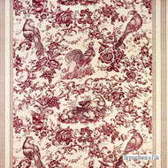 Red' | Curtain & Upholstery fabric - Red, Floral, Garden, Natural fibre, Red, Animals, Natural, Print, Animals - Fauna