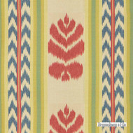 Brunschwig And Fils - Chenonceaux - Red And Blue  | Curtain & Upholstery fabric - Blue, Red, Mediterranean, Natural Fibre, Stripe, Natural, Print, Standard Width