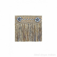 IDM - Exquisite Cut Fringe with Rosette 1882_8825 Blue Heaven  | Fringe, Curtain & Upholstery Trim - Blue, Tan, Taupe, Traditional, Domestic Use