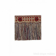 IDM - Exquisite Cut Fringe with Rosette  1882_7112  Cherrywood  | Fringe, Curtain & Upholstery Trim - Beige, Brown, Burgundy, Gold,  Yellow, Traditional, Domestic Use, Dry Clean