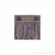 IDM - Exquisite Cut Fringe with Rosette  1882_8817  Navy Taupe  | Fringe, Curtain & Upholstery Trim - Beige, Blue, Traditional, Domestic Use