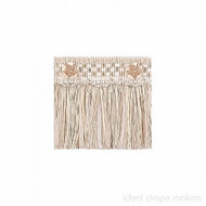 IDM - Exquisite Cut Fringe with Rosette 1882_455 White Dove  | Fringe, Curtain & Upholstery Trim - White, Tan, Taupe, Traditional, Domestic Use, White