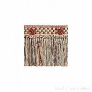 IDM - Exquisite Cut Fringe with Rosette  1882_8802  Red Sherbert  | Fringe, Curtain & Upholstery Trim - Gold,  Yellow, Green, Red, Tan, Taupe, Traditional, Domestic Use, Dry Clean