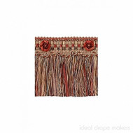 IDM - Exquisite Cut Fringe with Rosette 1882_7114 Turkish Delight    Fringe, Curtain & Upholstery Trim - Green, Terracotta, Traditional, Domestic Use