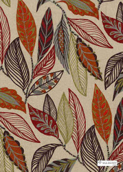 Muh_FD766_V54 'Forest' | Curtain & Upholstery fabric - Green, Red, Floral, Garden, Midcentury, Natural fibre, Red, Embroidery, Natural