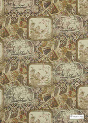 Mulberry Home - Mulberry China Linen - Spice  | Curtain & Upholstery fabric - Brown, Natural Fibre, Toile, Natural, Print, Standard Width