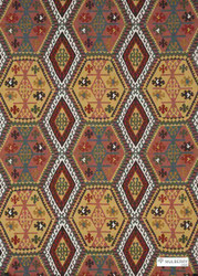 Mulberry Home - Buckland - Spice  | Curtain & Upholstery fabric - Red, Natural fibre, Red, Southwestern, Many-Coloured, Turquoise, Teal, Natural, Print