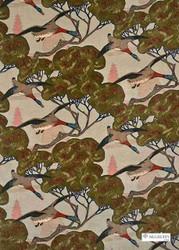 Mulberry Home - Flying Ducks Velvet - Sky  | Curtain & Upholstery fabric - Blue, Brown, Green, Floral, Garden, Natural fibre, Animals, Natural, Print, Animals - Fauna