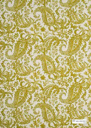 Muh_FD262_S30 'Lime' | Curtain & Upholstery fabric - Beige, Green, Natural fibre, Paisley, Natural, Print
