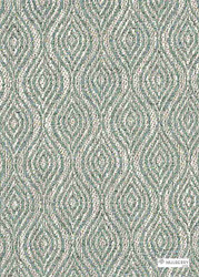 Mulberry Home - Haslam - Aqua  | Curtain & Upholstery fabric - Green, White, Fiber blend, Ogee, Weave, White