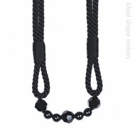 IDM - The Lynne Rope Beaded Tieback 4154_8050 Black  | Tie back, Curtain Accessory - Black - Charcoal, Traditional, Domestic Use