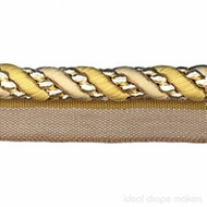 IDM - Cavalier Flanged Cord  1011_8723  Gold Cream  | Flange Cord, Trim - Gold,  Yellow, White, Tan, Taupe, Traditional, Domestic Use, Dry Clean, White