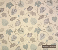 jd_10795-101 'Linen' | Curtain & Upholstery fabric - Stain Repellent, Blue, Craftsman, Floral, Garden, Midcentury, Natural fibre, Domestic Use, Natural, Top of Bed