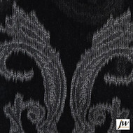 JW Design - Intrigue Ebony Sheer 300cm  | Curtain Sheer Fabric - Fire Retardant, Black - Charcoal, Pattern, Synthetic, Traditional, Transitional, Washable, Domestic Use