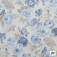 JW Design - Blossom Chambray Uncoated 137cm  | Curtain & Upholstery fabric - Blue, Farmhouse, Floral, Garden, Natural fibre, Pattern, Traditional, Uncoated, Washable, Domestic Use, Natural, Print