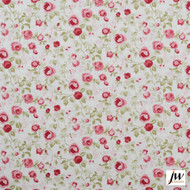 JW Design - Everlasting Old-Rose Uncoated 137cm  | Curtain & Upholstery fabric - Red, Farmhouse, Floral, Garden, Natural fibre, Pattern, Red, Traditional, Uncoated, Natural