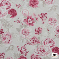 JW Design - Blossom Raspberry Uncoated 137cm  | Curtain & Upholstery fabric - Farmhouse, Floral, Garden, Natural fibre, Pattern, Pink, Purple, Traditional, Uncoated, Washable, Domestic Use, Print