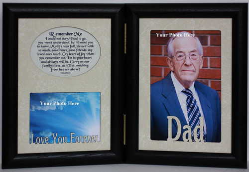 5x7 dad remember me poem black double hinged memorialbereavement keepsake picture photo - Double 5x7 Picture Frame