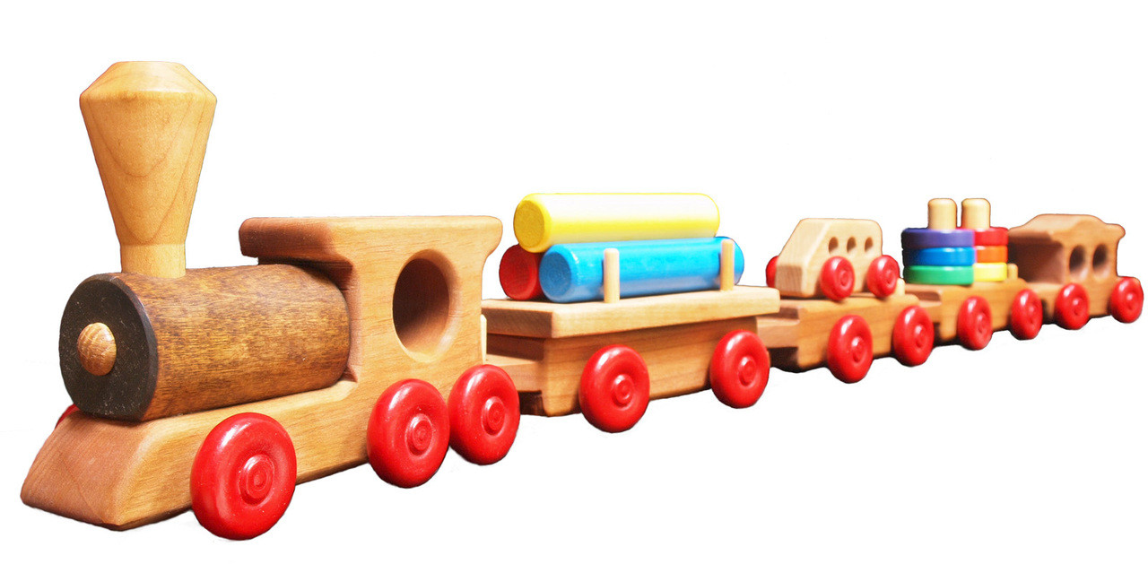 Wooden Train Set Green Toys For Toddlers Papa Dons Toys