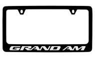 Pontiac Grand Am Black Coated Zinc License Plate Frame with Silver Imprint