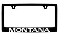 Pontiac Montana Black Coated Zinc License Plate Frame with Silver Imprint