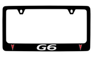 Pontiac G6 Black Coated Zinc License Plate Frame with Silver Imprint