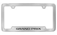 Pontiac Grand Prix Bottom Engraved Chrome Plated Brass License Plate Frame with Black Imprint