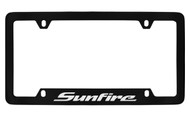 Pontiac Sunfire Bottom Engraved Black Coated Zinc License Plate Frame with Silver Imprint